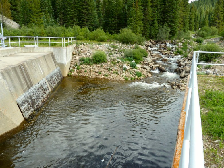A transmountain diversion structure in the headwaters of upper Fryingpan River.