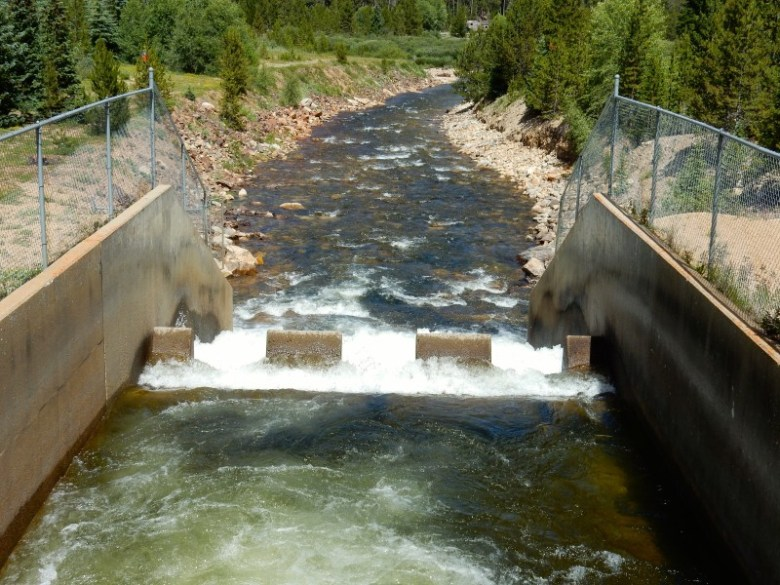 The outflow of the Bousted Tunnel just above Turquoise Reservoir near Leadville. The tunnel moves water from tributaries of the Roaring Fork and Fryingpan rivers under the Continental Divide for use by Front Range cities, and Pitkin County officials have concerns that more water will someday be sent through it.