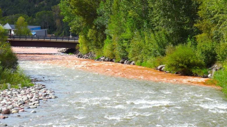 The Fryingpan River, orange with rain-driven sediment, enters the Roaring Fork River in Basalt on Thursday, Sept. 3, 2015. The coloration does provide a measure of what 300 cfs of water looks like as it enters the Fork.
