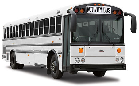 This Saf-T-Liner HDX activity bus, manufactured by Thomas Built Buses, is under consideration by the Aspen School District as a long-haul bus for use on field trips and athletic events.
