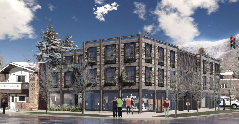 A rendering of the proposed Base 2 lodge on Main and Monarch streets in Aspen.