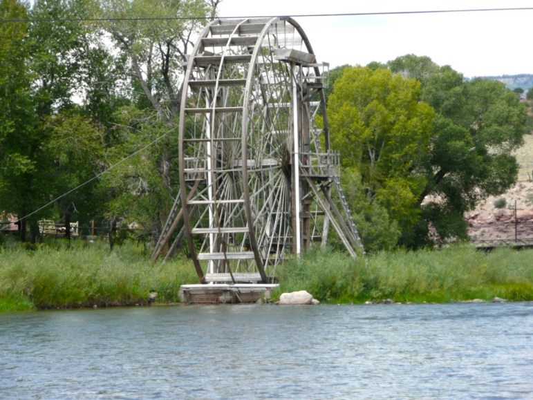 A water wheel on the upper Colorado River, now lost to high water.
