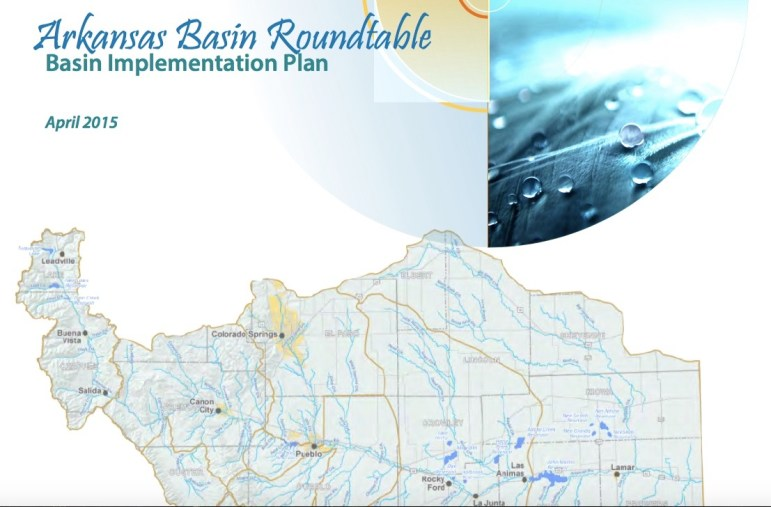 "The cover of the Arkansas Basin Roundtable's Basin Implementation Plan, completed in April 2015. Each of the basin roundtables developed a ""BIP,"" but the Ark's is one of the most in-depth and complete."