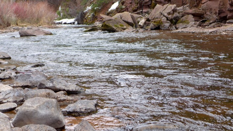 The lower Fryingpan River, running at 74 cfs, on March 21, 2016.