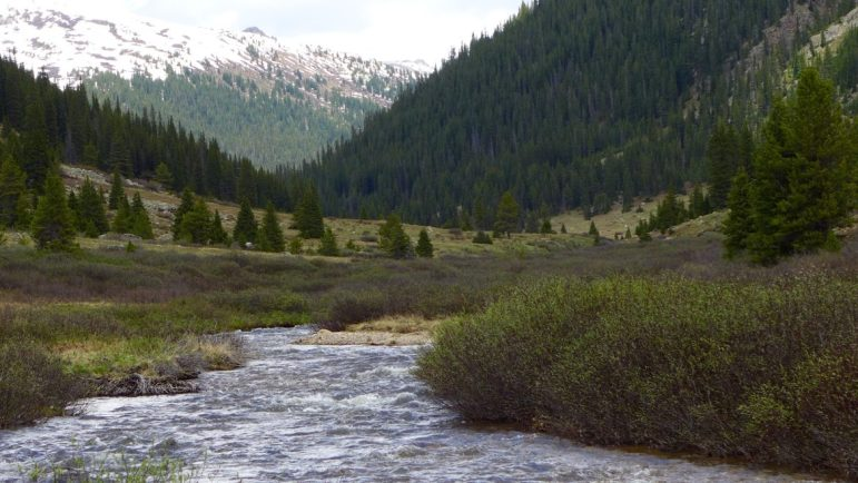 Lost Man Creek, on June 14, 2016, flowing out of the high country near Independence Pass in the upper Roaring Fork River basin. Just below this point the creek reaches Lost Man Reservoir.