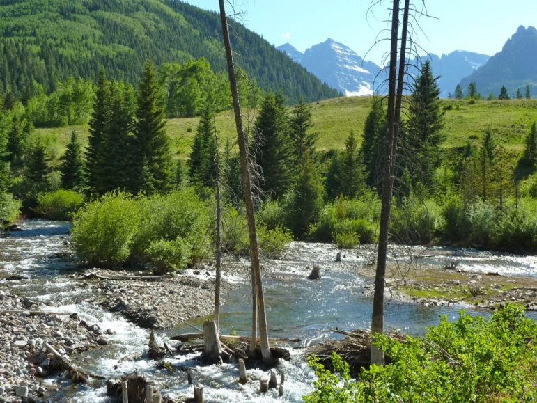 The city of Aspen intends to hold at least one public meeting on the conditional water rights it holds for two large dams, one on upper Castle Creek and one on upper Maroon Creek, shown here in this 2012 file photo, with the Maroon Bells visible in the background. The dam on Maroon Creek would be 155-feet-tall and store 4,567 acre-feet of water.