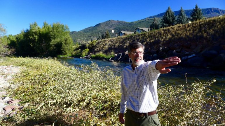 Pitkin County Attorney John Ely on Sept. 12, 2016, pointing out aspects of the county's whitewateer park project. The project is being managed by the county attorney's office as the project is primarily about securing a recreational in-channel diversion, or RICD, water right.