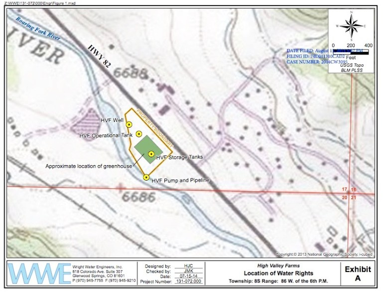 The map submitted with the original High Valley Farms water right application in August 2014.