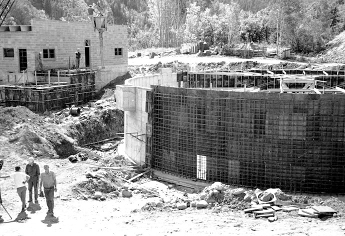 According to the archives of the Aspen Historical Society, this is a photo of the Aspen water plant under construction in 1966. The plant was a significant step forward for Aspen's municipal water supply system.