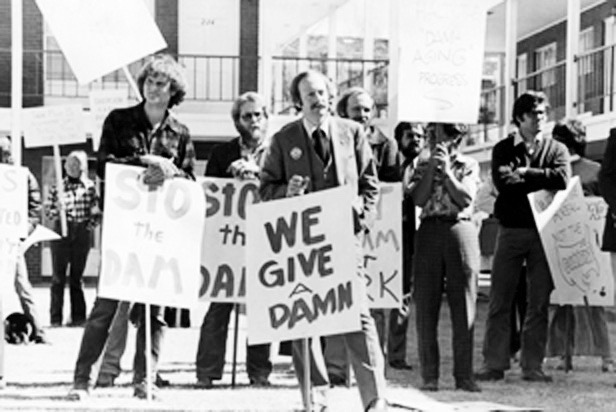 A photo from a protest held against the Hunter Creek aspect of the Fry-Ark Project, as published in the March 24 edition of The Aspen Times.