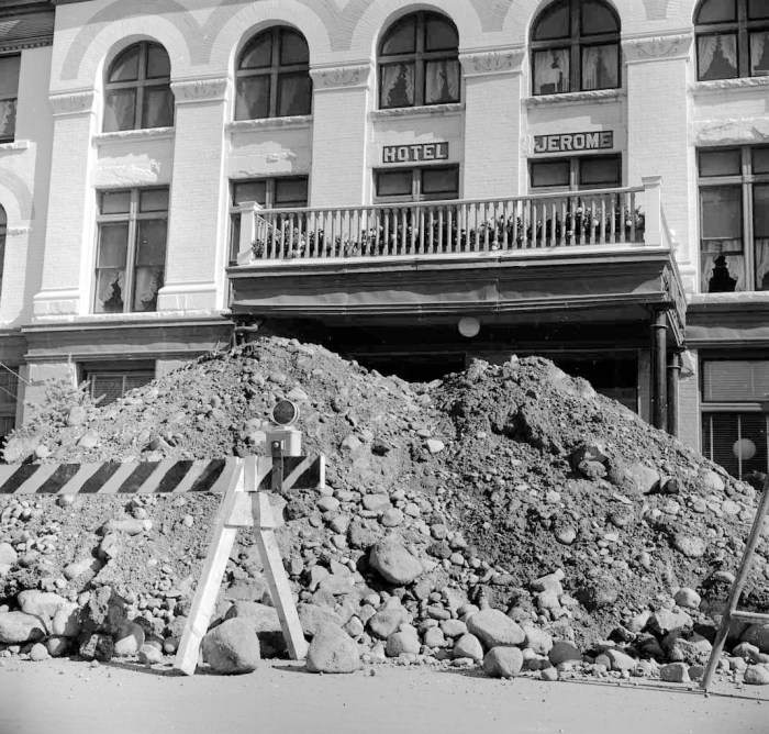 There was lot of construction underway in Aspen in September 1960, including trenching on Main Street in front of the Hotel Jerome to replace water pipes. Securing a reliable  supply of treated water was on ongoing project in Aspen until at least late 1967.