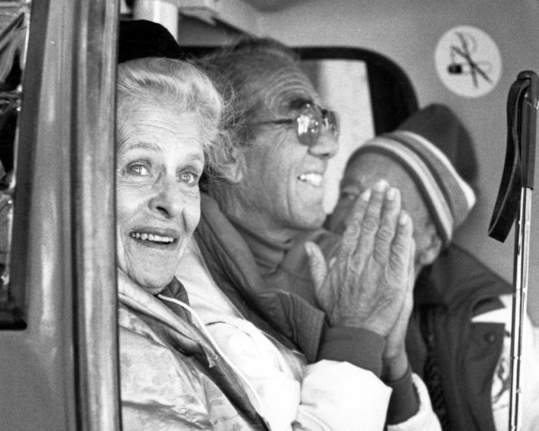 Aspen patron and grand dame Elizabeth Paepke and Aspen Ski Corporation founding member Friedl Pfeifer riding up the Silver Queen Gondola on Jan. 16, 1986 during the official inaugural ceremonies. The gondola opened for the season in December of 1986.