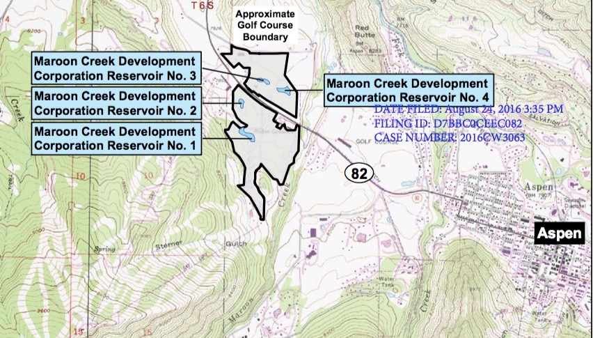 A map showing the location of four ponds on the Maroon Creek Club's golf course for which the club is seeking refill rights. The ponds are located between Maroon Creek and Buttermilk Mountain.