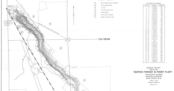 A detail of a map showing the potential Paepcke Forebay, formed by a 150-foot-tall dam across the main stem of the Roaring Fork River. Note airport runway to left of map, indicating dam would be just above Shale Bluffs in a deep narrow canyon.