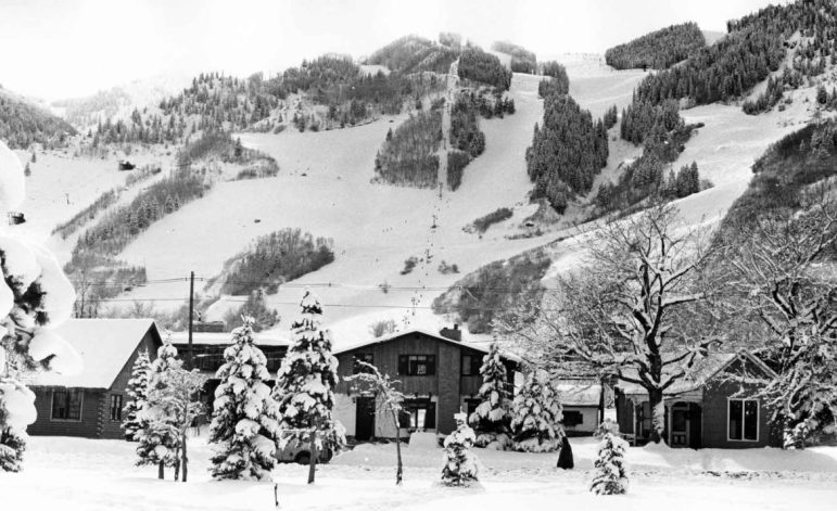 Aspen Mountain, as viewed from Paepcke Park, in 1970.