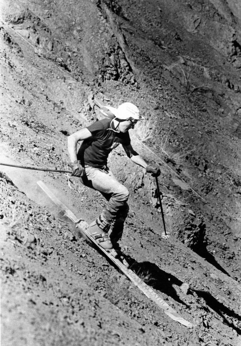 One of the Marolt twins skiing Shale Bluffs when Highway 82 was a two lane with a parking pull off in 1980 (probably Steve, sorry, Mike). Skis say 'Rock Eater' and hat says 'King of the Mountain.'