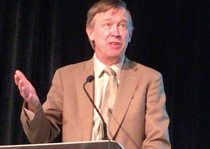 Colorado Gov. John Hickenlooper speaking at the Colorado Water Congress on Wednesday, Jan. 25, 2017.