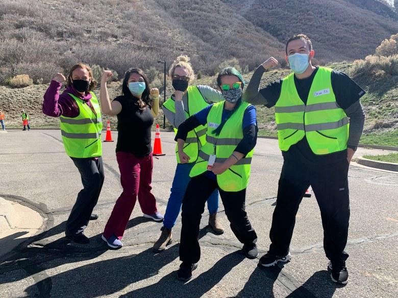 Volunteers at a Voces Unidas de las Montañas vaccination clinic in Glenwood Springs on April 10