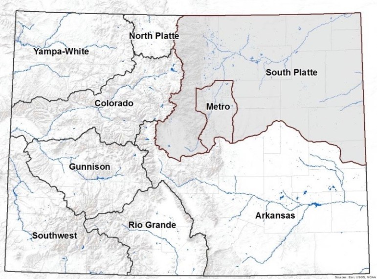 The eight major river basins, plus the Denver metro area, are shown on this map from the South Platte River Basin Roundtable. Each basin has its own roundtable, made up of volunteers, to address local water issues.