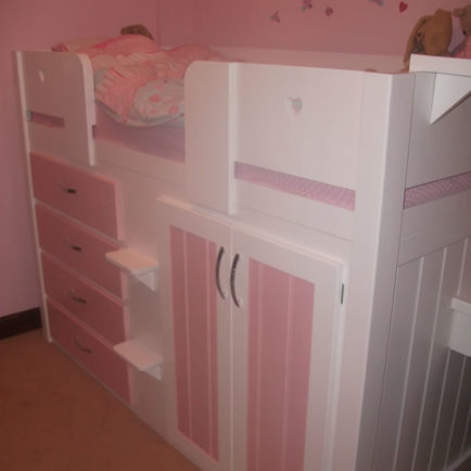 4 Drawer Childrens Cabin Bed White  Princess Pink