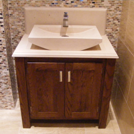 Dark Oak Vanity Unit with Stone Top  Aspenn Furniture