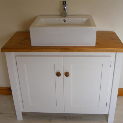 White Vanity Unit with Pine Top  Aspenn Furniture