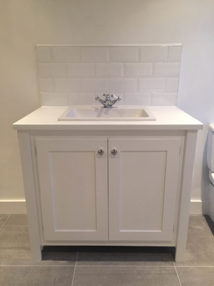 White Vanity Unit With Painted Top Aspenn Furniture