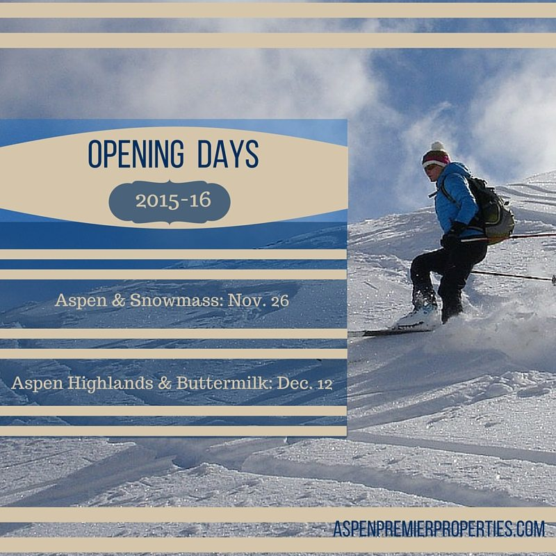 Opening Days for Aspen, Snowmass, Aspen Highlands and Buttermilk - Aspen Homes for Sale