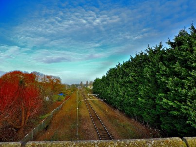 The railway line viewed from Hardwick Bridge - this would be a suitable location for new station to serve the Hardwick Industrial Estate.