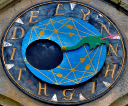 A closeup of the tide clock