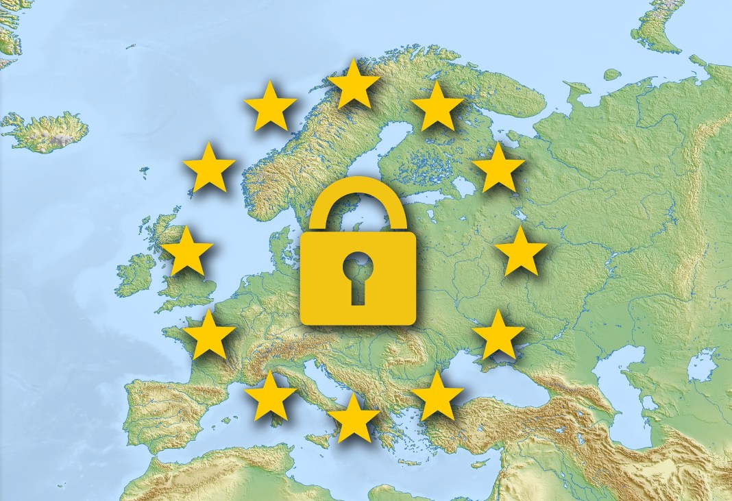 A GDPR padlock over a general map