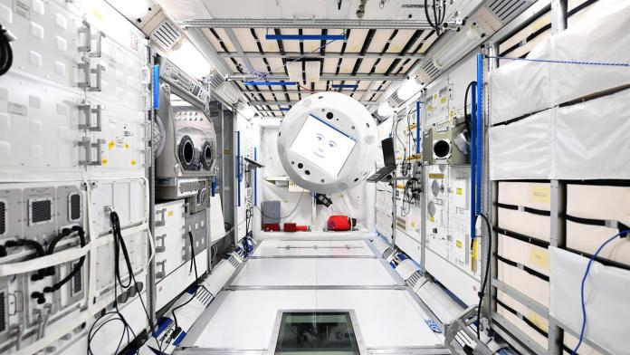 CIMON floating aboard the ISS   Aspioneer