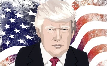 A picture of Donald Trump superimposed over a faded U.S. flag