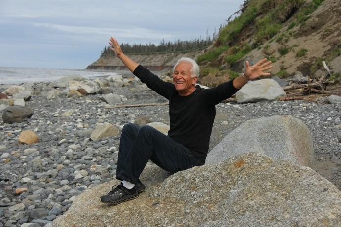 A baby boomer at a beach