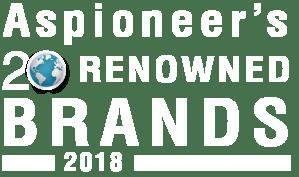 White logo of Aspioneer Issue. Renowned Brands of 2018 | Aspioneer