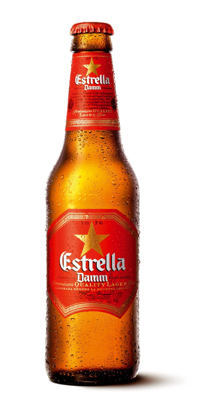 A bottle of Estrella Damm