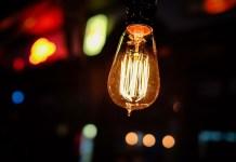 A hanging electric bulb