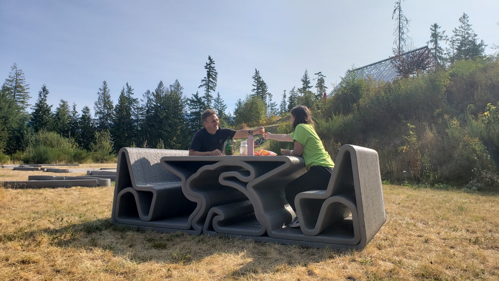 Ian Comishin shares lunch with his daughter on the printed Bunny Picnic Table.