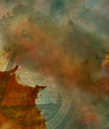 A monetized nebula. A gassy cloud in space overlaid with the pyramid from the US one dollar bill.