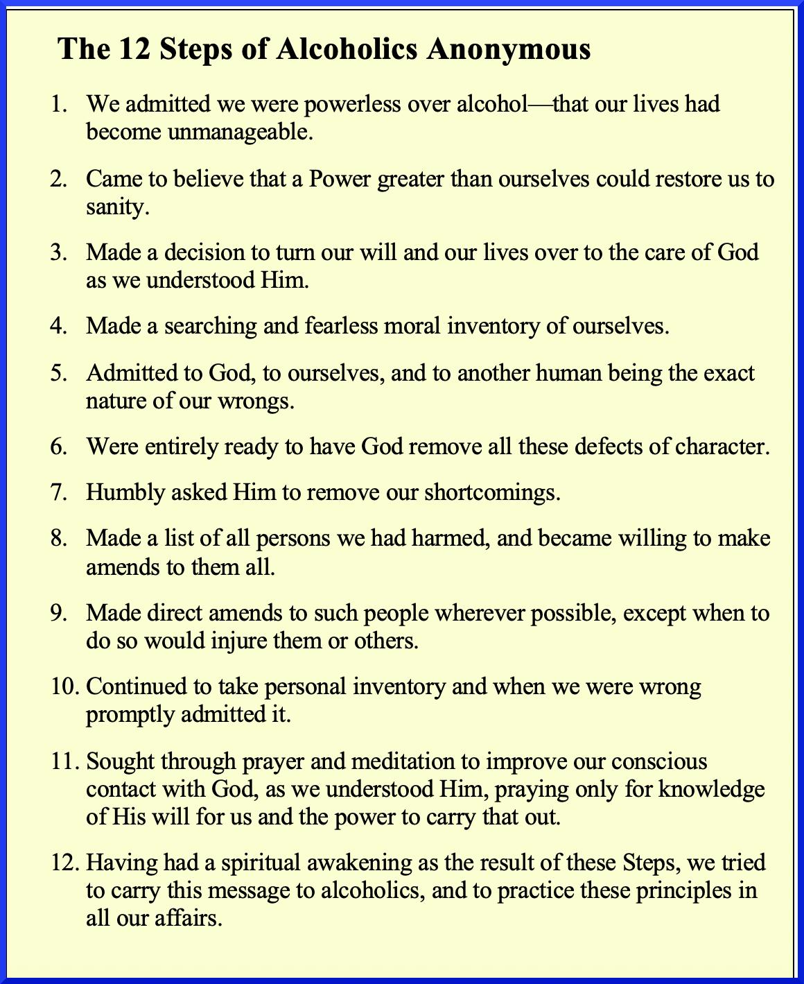 The 12 Steps Backward