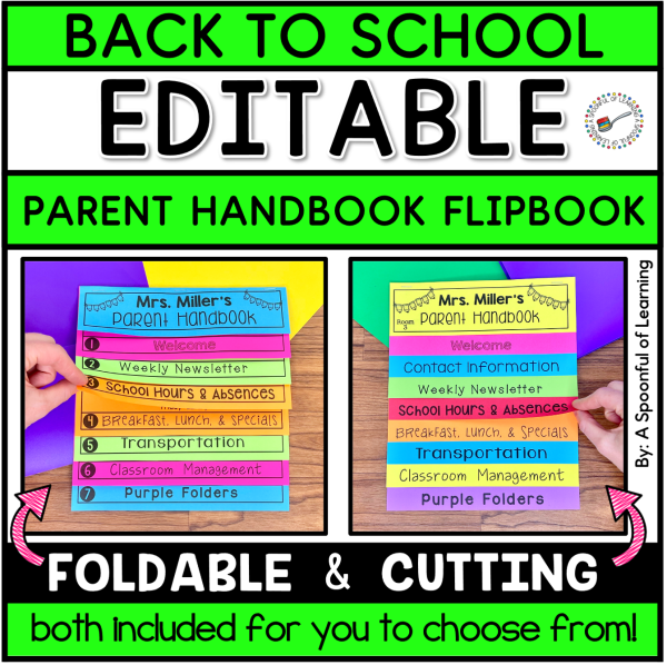 A flip book for teachers to put their classroom information in one place to communicate with families when they meet the teacher.