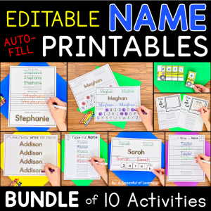 Examples of several completed name activities included in the name printables bundle.