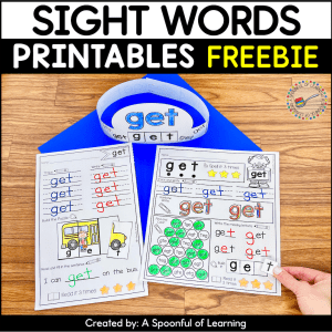 An example of the 3 printables included in this free sight word printables. The sight word printables are for the sight word 'get'.