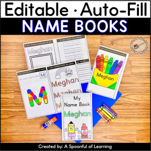 Example of an editable name writing book. The cover, inside pages, and craft on the back are the activities that are included in this editable name book.