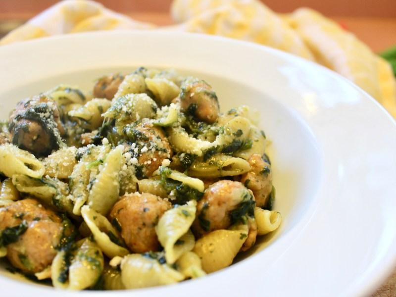 Creamy Chicken Sausage and Spinach Over Pasta
