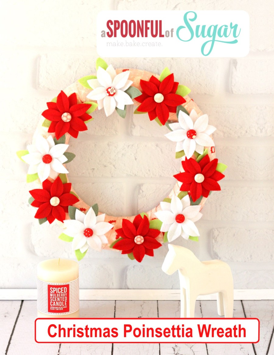 Christmas Poinsettia Wreath pdf pattern by  www.etsy.com/shop/aspoonfullofsugar