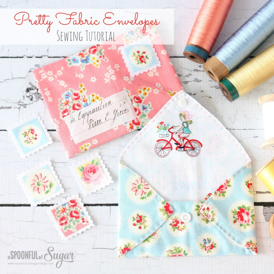 Pretty Fabric Envelopes sewing tutorial by www.aspoonfulofsugardesigns.com