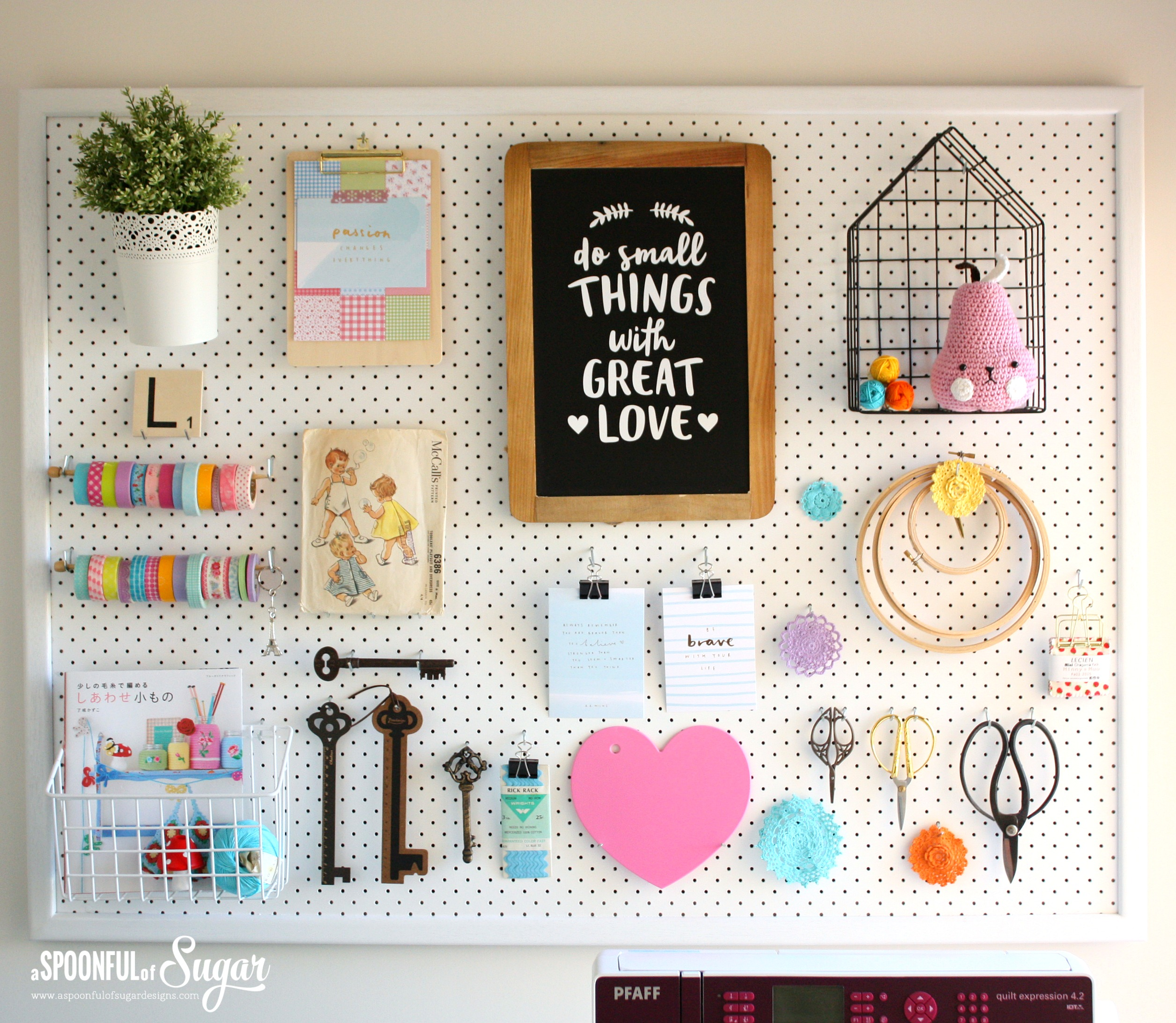 pegboard makeover a spoonful of sugar. Black Bedroom Furniture Sets. Home Design Ideas
