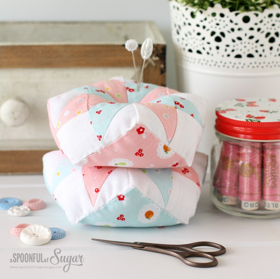 Scrappy Star Pincushion made in Sweet Orchard Fabric