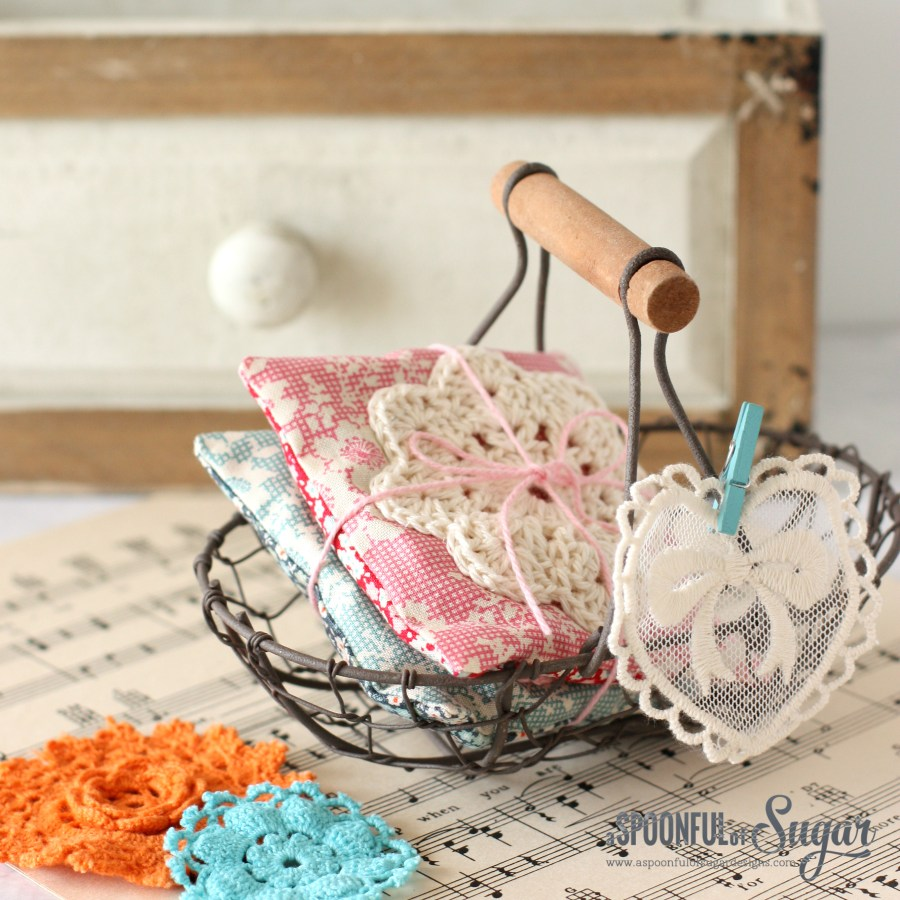 Tutorial for making Lavender Sachets, featuring a crocheted doiley, by A Spoonful of Sugar.